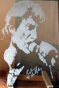 ceramique verre personnages gravure verre portrait johnny : portrait J-H chanteur