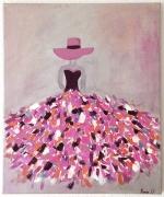 tableau personnages : Femme robe colorée romantique