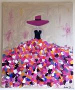 tableau personnages : Femme robe colorée
