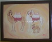 tableau animaux maroc traditionnel la famille chameaux : la famille
