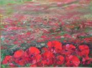 tableau fleurs fleurs : champs de coquelicots