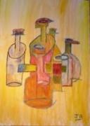 tableau autres cubisme peinture acrylique ariege : LES BOUTEILLES