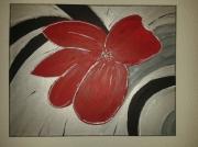tableau fleurs abstrait argent paysage rouge : Flore Boréale