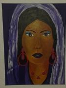 tableau personnages visage orient violet religion : l'orientale