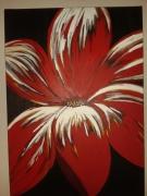 tableau fleurs fleur rouge or grosse : La floraison