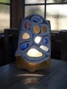 artisanat dart abstrait etnique tribale terre cuite verre : lampe Tribe
