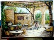 tableau scene de genre : Bar de l'escale de St-Florent (corse)