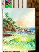 tableau marine : Polynesie Ressac à Raiatea