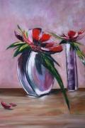tableau fleurs vase violet composition fleurie : vase mauve
