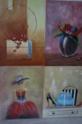 tableau scene de genre vase composition elegante schopping : quatuor