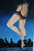 tableau villes ville nocturnes feminine sousvetements : ballade de nuit