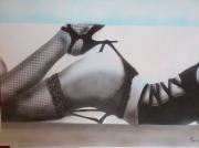 autres nus lingerie bas sexy bleu : coquine