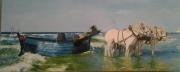 tableau marine chevaux flobart mer wissant : le flobart de wissant