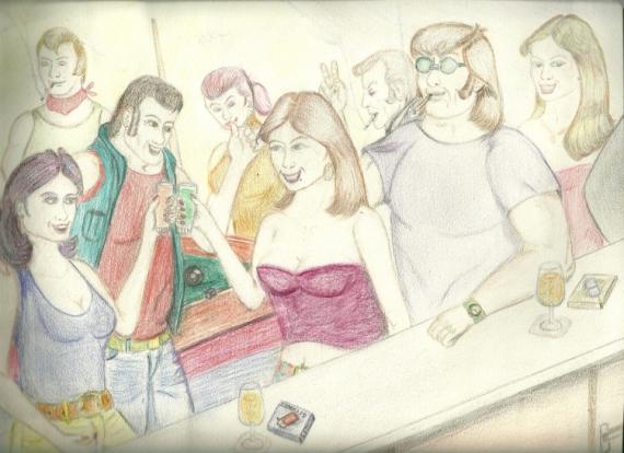 DESSIN bar soirée billard amis Crayon  - soirée
