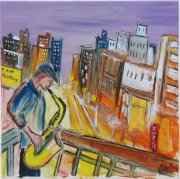 tableau personnages jazz urbain saxo new york : Urban Jazz