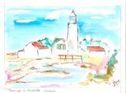 autres paysages phare aquarelle camargue : le phare de la gacholle