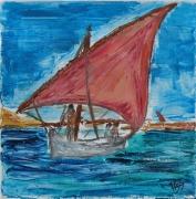 tableau marine voile latine barque mediterranee : voile latine