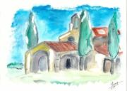 autres paysages chapelle provence aquarelle : chapelle provençale