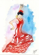 autres personnages flamenco danseuse aquarelle : Flamenco