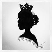 tableau personnages dessin encre cadre personnage : Tableau acrylique :Princesse