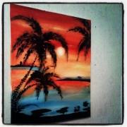 tableau paysages tableau paysages acrylique moderne : Tableau acrylique sur toile :Paradisso