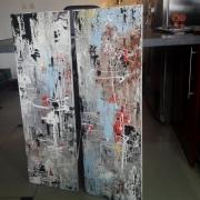 tableau abstrait abstrait moderne diptyque contemporain : Diptyque abstrait : Vibrations