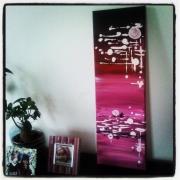 tableau autres abstrait diptyque rose acrylique : Tableau abstrait : Rosilla