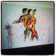 tableau personnages abstrait personnage nu figuratif : Tableau acrylique : Romeo et Juliette