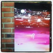 tableau abstrait abstrait acrylique rose tableau : Tableau abstrait : Rosalia