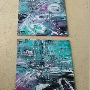 tableau abstrait abstrait diptyque acrylique tableau abstrait : Diptyque abstrait : Kiki koko