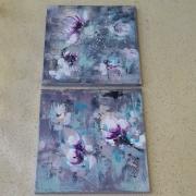 tableau abstrait abstrait fleurs magnolias moderne : Diptyque abstrait :Coquelicots
