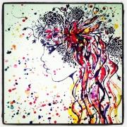 tableau personnages abstrait figuratif femme cadre : Tableau : Syrena