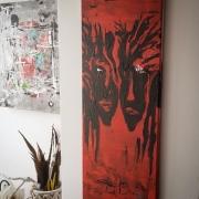 tableau abstrait abstrait moderne tableau contemporain : Tableau acrylique :Robert et Piotr