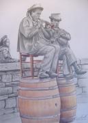 dessin personnages musique biniou breton bretagne : Joueurs de Biniou