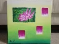 lotus ouvert sur dégradé vert