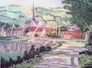 tableau villes village campagne verdure paysage : Village