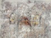tableau abstrait matiere : 4 réceptacles aux couleurs