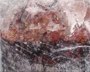 tableau abstrait matiere : Dripping noir sur fond rouge