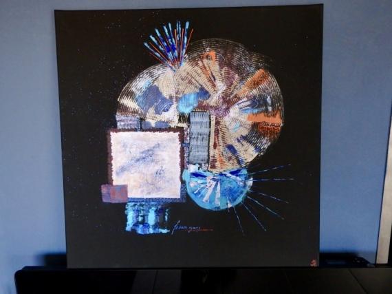 """TABLEAU PEINTURE Abstrait Acrylique  - """"Etincelles"""""""