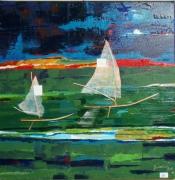 tableau marine olivier matieres couleurs lumiere : Felouques sur le Nil vert avant l'orage