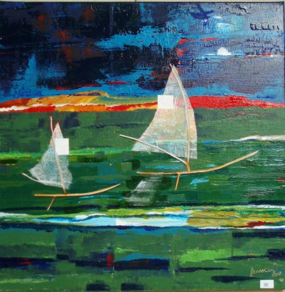 TABLEAU PEINTURE olivier matières couleurs lumière Marine  - Felouques sur le Nil vert avant l'orage