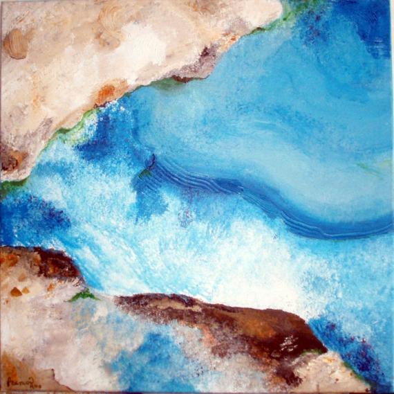 TABLEAU PEINTURE turquoise lumière chaleur romantique Marine Acrylique  - En Caraïbes