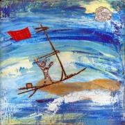 tableau marine marine lyrisme gravure imaginaire : Voile rouge vers l'Orient