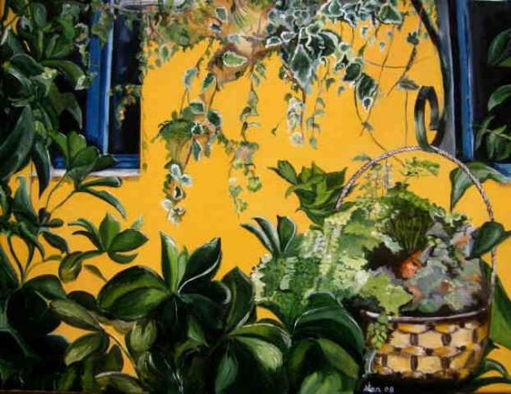 TABLEAU PEINTURE plantes coure vert fenetres Scène de genre Peinture a l'huile  - fenètres sur cour