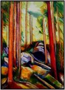 """tableau paysages rouge arbre foret : """"L'Arbre Rouge"""""""