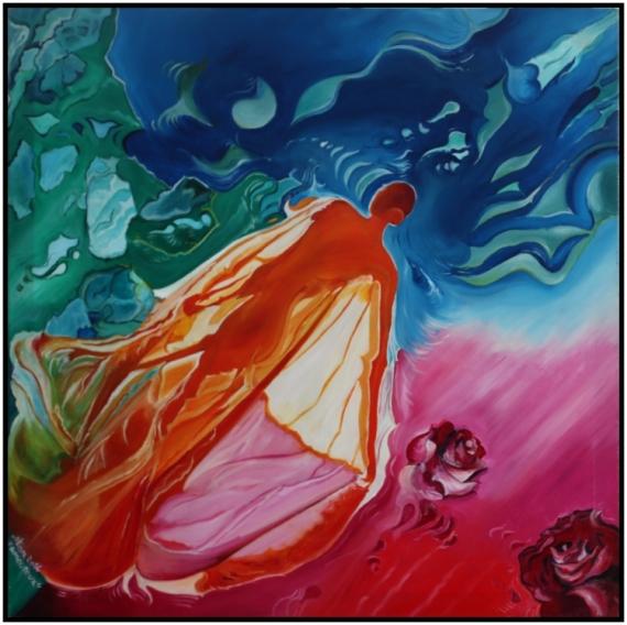 TABLEAU PEINTURE amour bleu abstrait Scène de genre Peinture a l'huile  - Amoureux