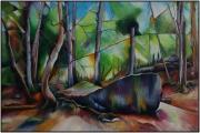 """tableau paysages vert foret morte abstrait : """"La Barque des Morts"""""""