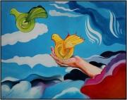 """tableau scene de genre oiseaux amour coeur : """"Accroches ton coeur"""""""