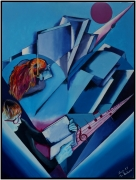 """tableau abstrait lecture bleu abstrait livre : """"La Lecture"""