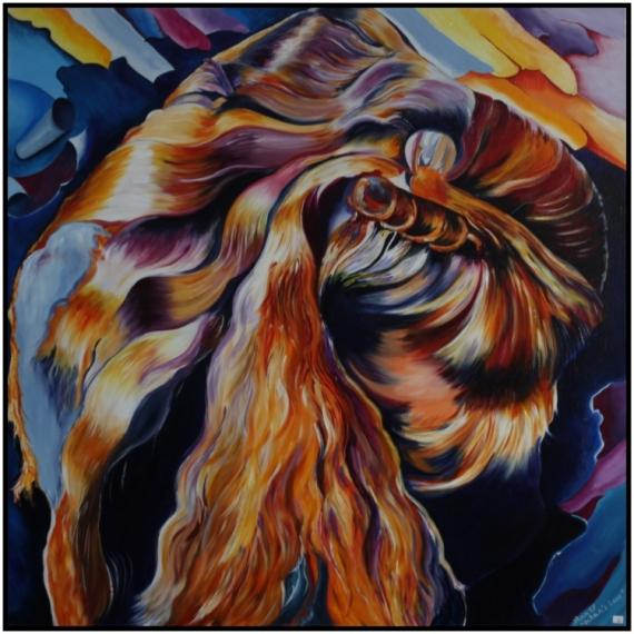 """TABLEAU PEINTURE femme abstrait Abstrait Peinture a l'huile  - """"Ocean's Love"""""""